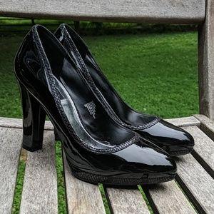 WHBM Alanna Platform Black Patent Leather Heels
